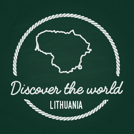 White chalk texture hipster insignia with Republic of Lithuania map on a green blackboard. Grunge rubber seal with country outlines, vector illustration.