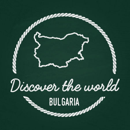 White chalk texture hipster insignia with Republic of Bulgaria map on a green blackboard. Grunge rubber seal with country outlines, vector illustration.