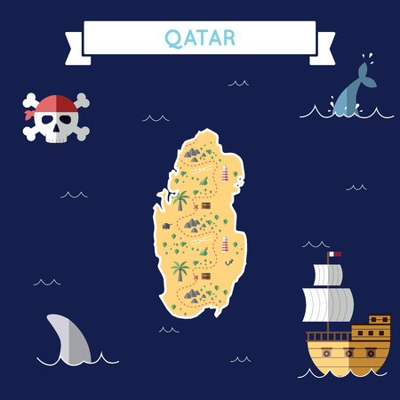 Flat treasure map of Qatar. Colorful cartoon with icons of ship, jolly roger, treasure chest and banner ribbon. Flat design vector illustration.