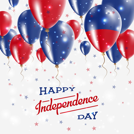Haiti Vector Patriotic Poster. Independence Day Placard with Bright Colorful Balloons of Country National Colors. Haiti Independence Day Celebration. Illustration