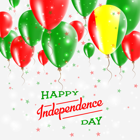 Guinea Vector Patriotic Poster. Independence Day Placard with Bright Colorful Balloons of Country National Colors. Guinea Independence Day Celebration. Illustration