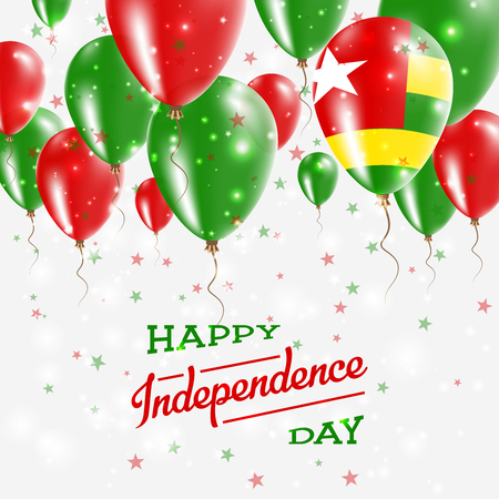 Togo Vector Patriotic Poster. Independence Day Placard with Bright Colorful Balloons of Country National Colors. Togo Independence Day Celebration.