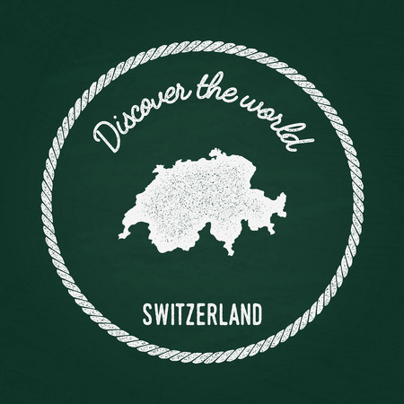 White chalk texture vintage insignia with Swiss Confederation map on a green blackboard. Grunge rubber seal with country outlines, vector illustration.