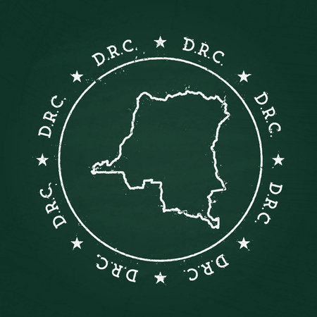 White chalk texture rubber seal with Democratic Republic of the Congo map on a green blackboard. Grunge rubber seal with country outlines, vector illustration.