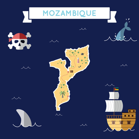 Flat treasure map of Mozambique. Colorful cartoon with icons of ship, jolly roger, treasure chest and banner ribbon. Flat design vector illustration.