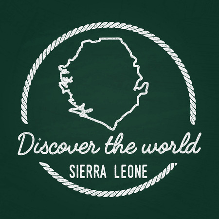 White chalk texture hipster insignia with Republic of Sierra Leone map on a green blackboard. Grunge rubber seal with country outlines, vector illustration. Illustration