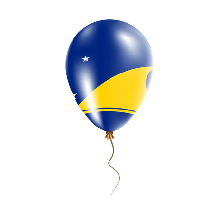 Tokelau balloon with flag. Bright Air Ballon in the Country National Colors. Country Flag Rubber Balloon. Vector Illustration.