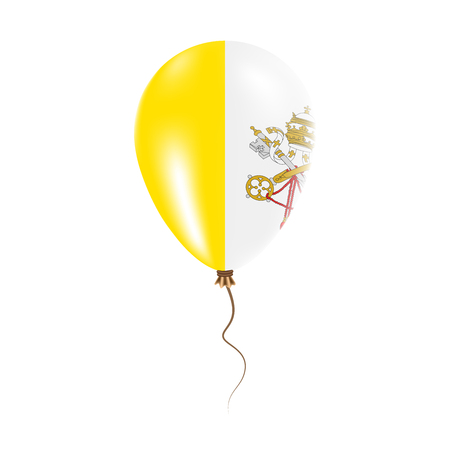 Holy See (Vatican City State) balloon with flag. Bright Air Ballon in the Country National Colors. Country Flag Rubber Balloon. Vector Illustration.