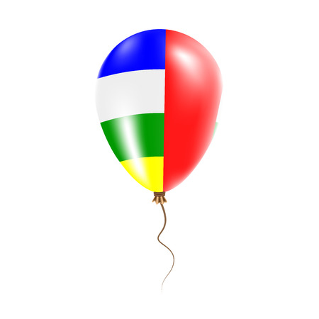 Central African Republic balloon with flag. Bright Air Ballon in the Country National Colors. Country Flag Rubber Balloon. Vector Illustration.