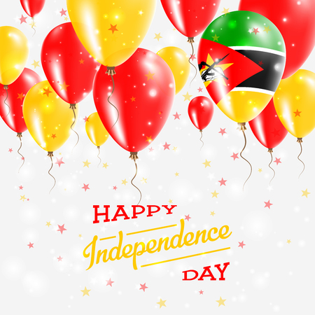 Mozambique Vector Patriotic Poster. Independence Day Placard with Bright Colorful Balloons of Country National Colors. Mozambique Independence Day Celebration. 向量圖像