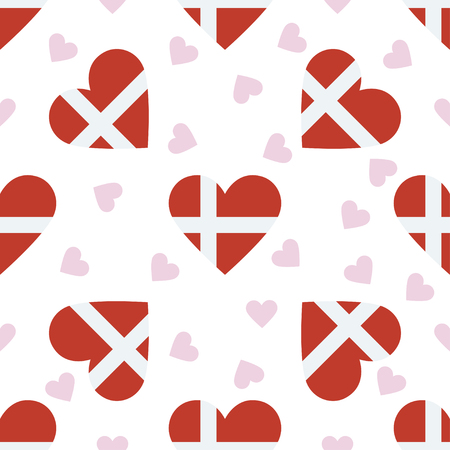 Denmark independence day seamless pattern. Patriotic background with country national flag in the shape of heart. Vector illustration.