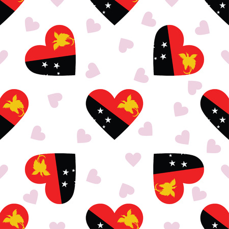Papua New Guinea independence day seamless pattern. Patriotic background with country national flag in the shape of heart. Vector illustration.
