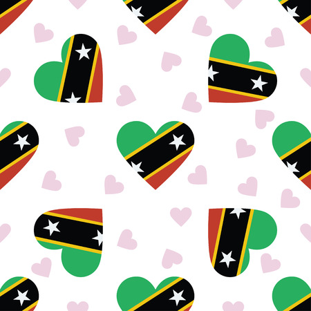 Saint Kitts And Nevis independence day seamless pattern. Patriotic background with country national flag in the shape of heart. Vector illustration.