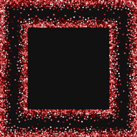 Red gold glitter. Square abstract frame with red gold glitter on black background. Dazzling Vector illustration.