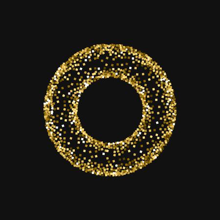 Gold glitter. Bagel shaped frame with gold glitter on black background. Unusual Vector illustration. Illustration