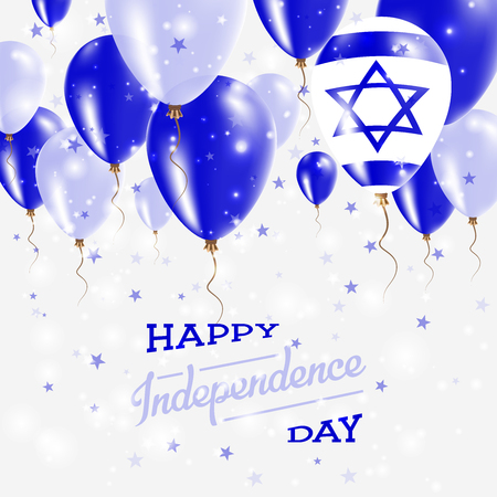 Israel Vector Patriotic Poster. Independence Day Placard with Bright Colorful Balloons of Country National Colors. Israel Independence Day Celebration.