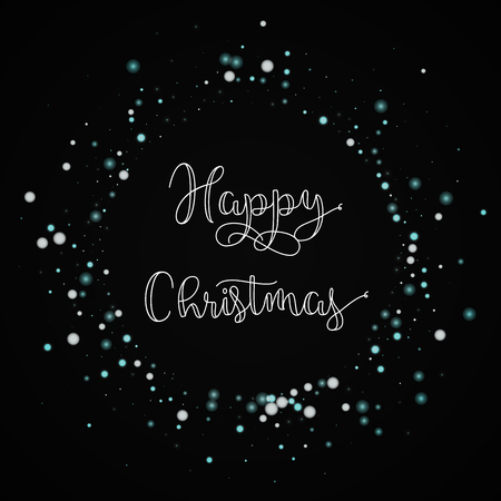 Happy Christmas greeting card. Beautiful falling snow background. Beautiful falling snow on black background.great vector illustration. Illustration