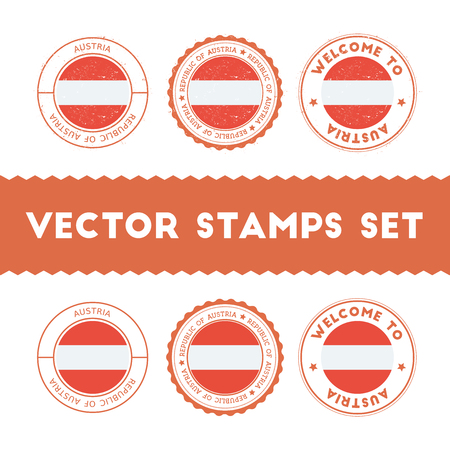 Austrian flag rubber stamps set. National flags grunge stamps. Country round badges collection. Illustration