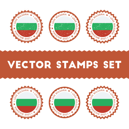 I Love Bulgaria vector stamps set. Retro patriotic country flag badges. National flags vintage round signs.