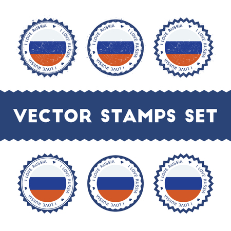 I Love Russian Federation vector stamps set. Retro patriotic country flag badges. National flags vintage round signs. Çizim