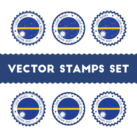 I Love Nauru vector stamps set. Retro patriotic country flag badges. National flags vintage round signs.