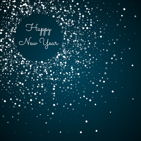 Happy New Year greeting card. Random falling white dots background. Random falling white dots on blue background. Beautiful vector illustration. Illusztráció