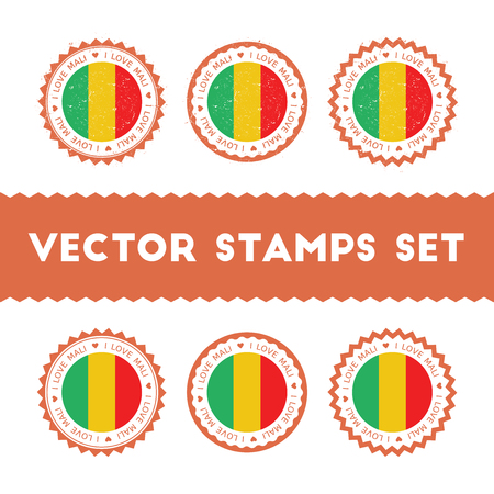 I Love Mali vector stamps set. Retro patriotic country flag badges. National flags vintage round signs.
