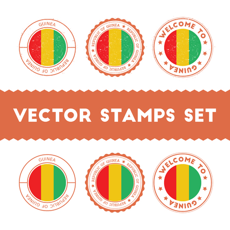 Guinean flag rubber stamps set. National flags grunge stamps. Country round badges collection.