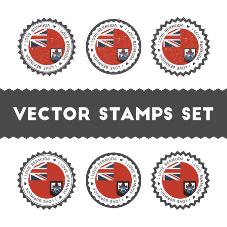 I Love Bermuda vector stamps set. Retro patriotic country flag badges. National flags vintage round signs.