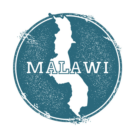 Grunge rubber stamp with name and map of Malawi, vector illustration. Can be used as insignia, logotype, label, sticker or badge of the country. Illustration