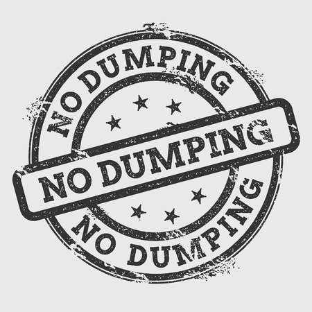 No dumping rubber stamp isolated on white background. Grunge round seal with text, ink texture and splatter and blots, vector illustration.