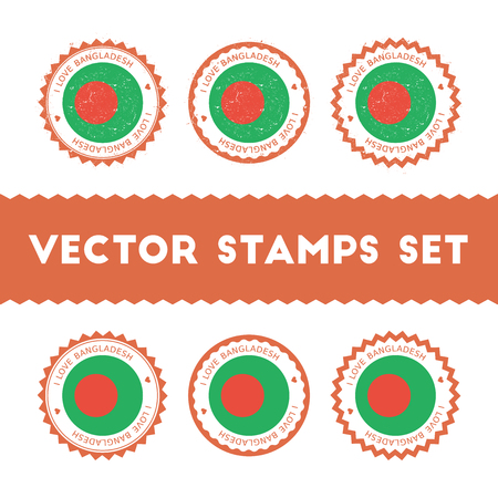 I Love Bangladesh vector stamps set. Retro patriotic country flag badges. National flags vintage round signs.