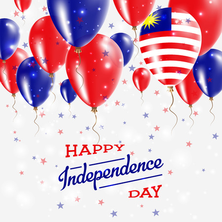 Malaysia vector patriotic poster. Independence Day placard with bright colorful balloons of country national colors. Malaysia Independence Day celebration.