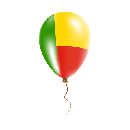 Benin balloon with flag. Bright air balloon in the country national colors. Country flag rubber balloon. Vector illustration.