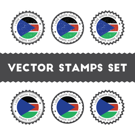 I Love South Sudan vector stamps set. Retro patriotic country flag badges. National flags vintage round signs.