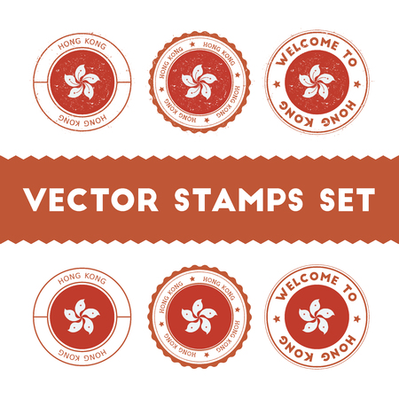 Chinese flag rubber stamps set. National flags grunge stamps. Country round badges collection.