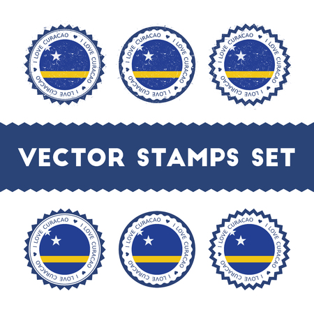I Love Curacao vector stamps set. Retro patriotic country flag badges. National flags vintage round signs. Иллюстрация