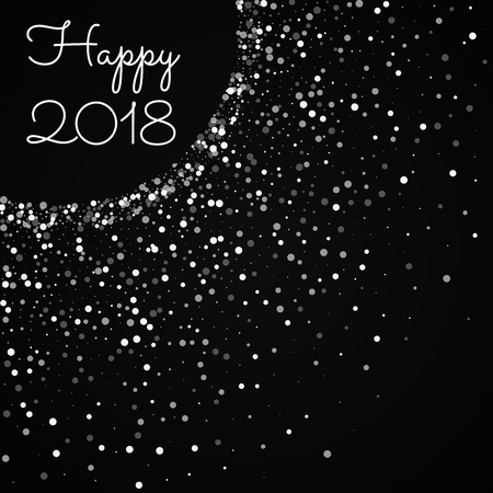 Happy 2018 greeting card. Random falling white dots background. Random falling white dots on black background. Charming vector illustration.