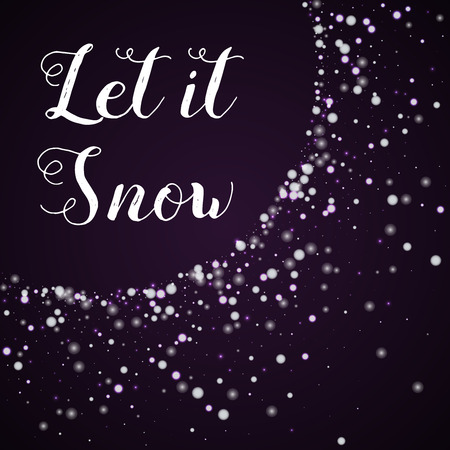 Let it snow greeting card. Beautiful falling snow background. Beautiful falling snow on deep purple background.cute vector illustration.