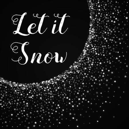 Let it snow greeting card. Amazing falling stars background. Amazing falling stars on red background.cute vector illustration. Illusztráció