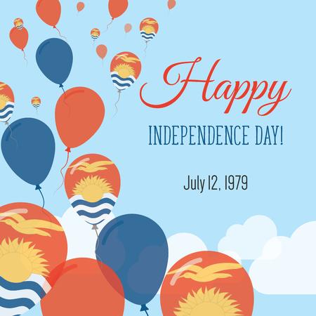 Independence Day Flat Greeting Card. Kiribati Independence Day. I-Kiribati Flag Balloons Patriotic Poster. Happy National Day Vector Illustration. Illustration
