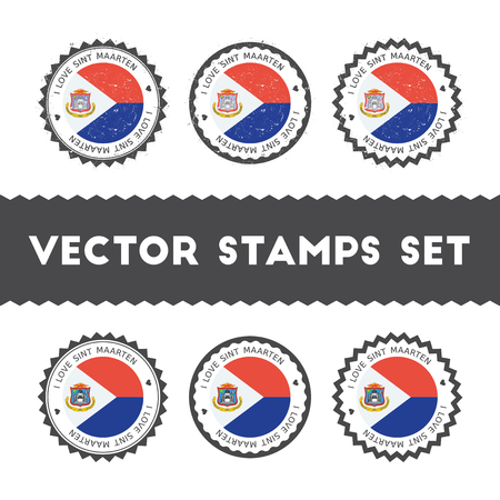 I Love Sint Maarten vector stamps set. Retro patriotic country flag badges. National flags vintage round signs.