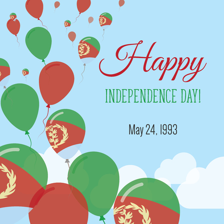Independence Day Flat Greeting Card. Eritrea Independence Day. Eritrean Flag Balloons Patriotic Poster. Happy National Day Vector Illustration. Illustration