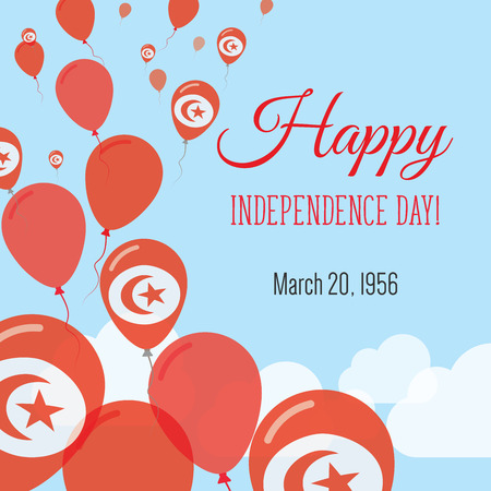 Independence Day Flat Greeting Card. Tunisia Independence Day. Tunisian Flag Balloons Patriotic Poster. Happy National Day Vector Illustration. Illustration