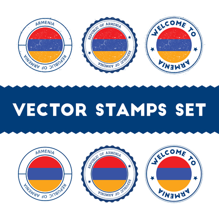 Armenian flag rubber stamps set. National flags grunge stamps. Country round badges collection.