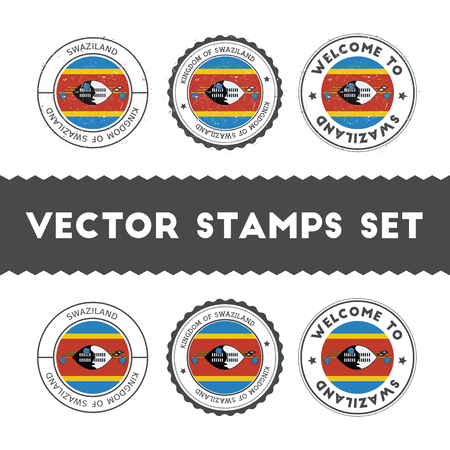 Swazi flag rubber stamps set. National flags grunge stamps. Country round badges collection.
