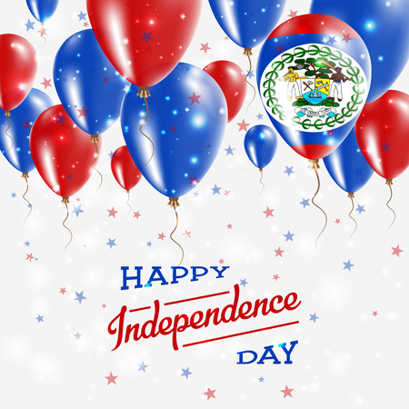 Belize Vector Patriotic Poster. Independence Day Placard with Bright Colorful Balloons of Country National Colors. Belize Independence Day Celebration. Ilustração Vetorial