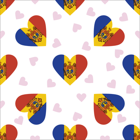 Moldova, Republic of independence day seamless pattern. Patriotic background with country national flag in the shape of heart. Vector illustration.