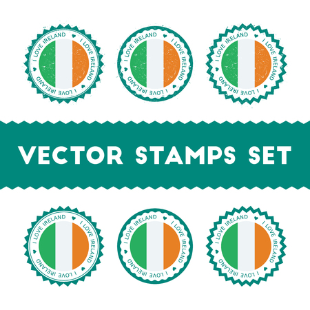I Love Ireland vector stamps set. Retro patriotic country flag badges. National flags vintage round signs.