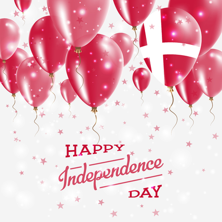 Denmark Vector Patriotic Poster. Independence Day Placard with Bright Colorful Balloons of Country National Colors. Denmark Independence Day Celebration.